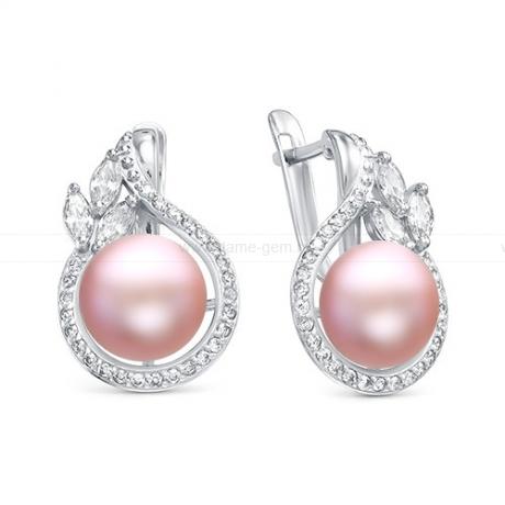 Серьги из серебра с розовыми жемчужинами 8,5-9 мм. Артикул 10229