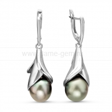 Серьги из серебра с Таитянскими жемчужинами 9-10 мм. Артикул 10233