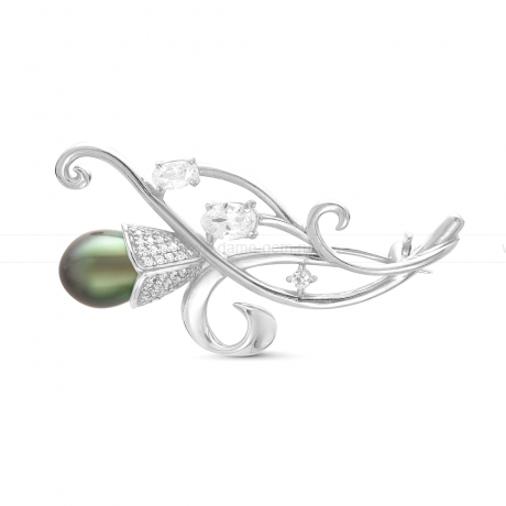 Брошь из серебра с Таитянской морской жемчужиной. Артикул 10240