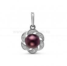 Кулон из серебра с черной жемчужиной 7,5-8 мм. Артикул 10256