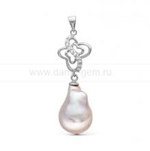 "Кулон из серебра с серой жемчужиной ""Барокко"" 13-16 мм. Артикул 10257"