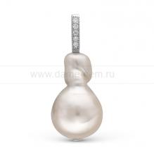 "Кулон из серебра с белой жемчужиной ""Барокко"" 13-16 мм. Артикул 10259"