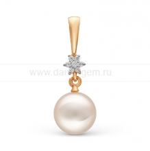 Кулон из золота с белой жемчужиной. Артикул 10260