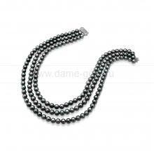 Ожерелье в 3 ряда из черного речного жемчуга 7,5-8 мм. Артикул 10268
