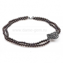 Ожерелье в 2 ряда из черного жемчуга. Артикул 10269