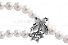 "Ожерелье ""Галстук"" из белого круглого речного жемчуга 7-7,5 мм. Артикул 10273"