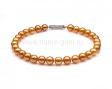 Ожерелье из 30 жемчужин из золотистого речного жемчуга 12-13 мм. Арт 10278