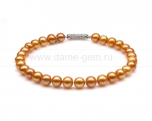 Ожерелье из золотистого круглого речного жемчуга 12-13 мм. Артикул 10279