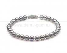 Ожерелье из 30 жемчужин из серебристого речного жемчуга 12-13 мм. Артикул 10280