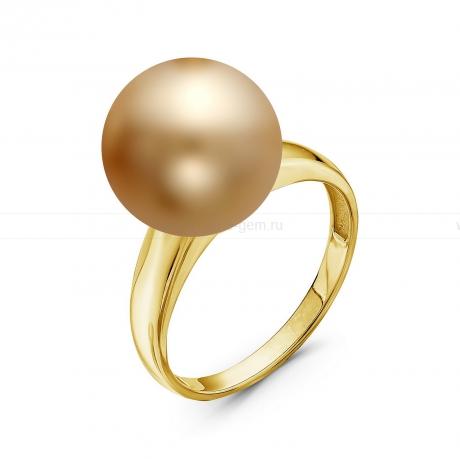 Кольцо из золота с золотистой Австралийской жемчужиной 13,6-13,9 мм. Артикул 10315