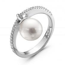 Кольцо из белого золота с белой морской жемчужиной Акойя 8-8,5 мм. Артикул 10320