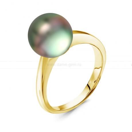 Кольцо из золота с черной Таитянской жемчужиной 9,6-9,9 мм. Артикул 10329