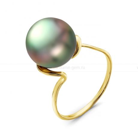 Кольцо из золота с черной Таитянской жемчужиной 12-12,5 мм. Артикул 10334