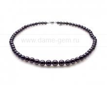Ожерелье из черного круглого морского жемчуга 4,5-8,5 мм. Артикул 10342