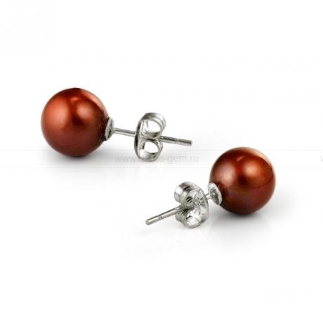 Пусеты из серебра с шоколадными жемчужинами 8,5-9 мм. Артикул 10345