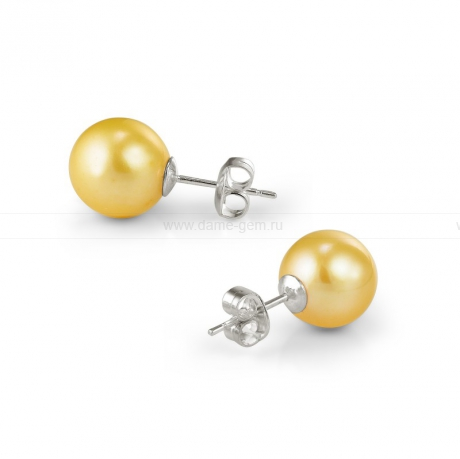 Пусеты из серебра с золотистыми жемчужинами 8,5-9 мм. Артикул 10348
