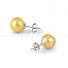 Пусеты из серебра с золотистыми жемчужинами 9,5-10 мм. Артикул 10350