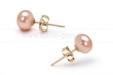Пусеты из серебра с розовыми жемчужинами 4,5-5 мм. Артикул 10351