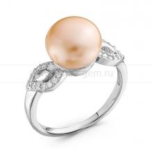 Кольцо из серебра с розовой жемчужиной 8,5-9,5 мм. Артикул 10358