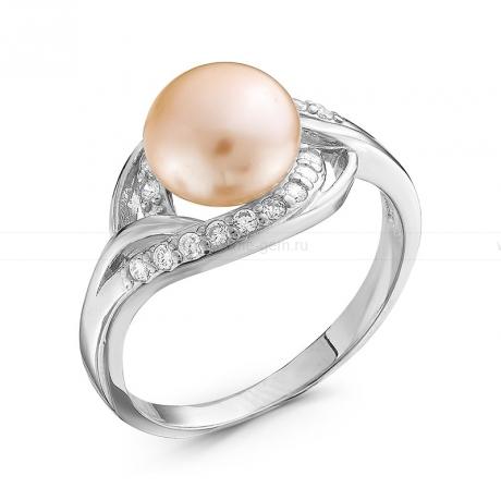 Кольцо из серебра с розовой жемчужиной 8,5 мм. Артикул 10359