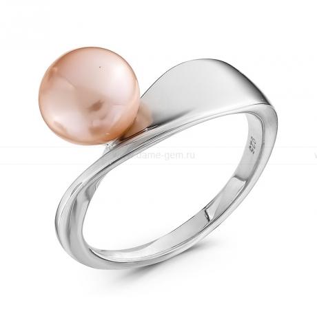 Кольцо из серебра с розовой жемчужиной 8-8,5 мм. Артикул 10360