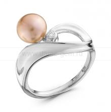 Кольцо из серебра с розовой жемчужиной 7-7,5 мм. Артикул 10361
