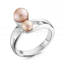Кольцо из серебра с розовыми жемчужинами 5-7 мм. Артикул 10362