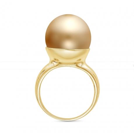 Кольцо из серебра с золотистой Австралийской жемчужиной 14,5-15 мм. Артикул 10363