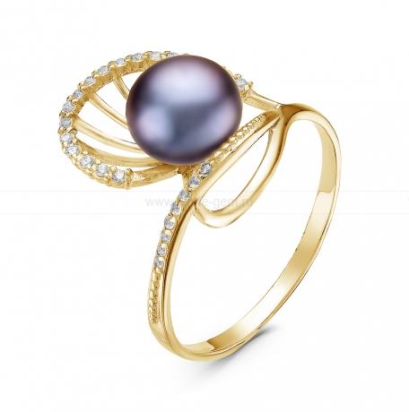 Кольцо из серебра с черной жемчужиной. Артикул 10364