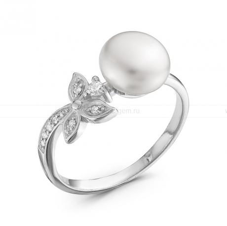 Кольцо из серебра с белой жемчужиной. Артикул 10366