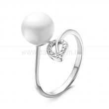 Кольцо из серебра с белой жемчужиной 8,5-9 мм. Артикул 10367