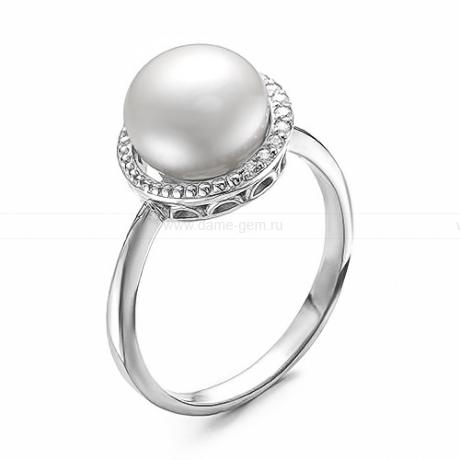 Кольцо из серебра с белой жемчужиной 8,5-9 мм. Артикул 10368