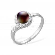 Кольцо из серебра с черной жемчужиной 7-7,5 мм. Артикул 10369
