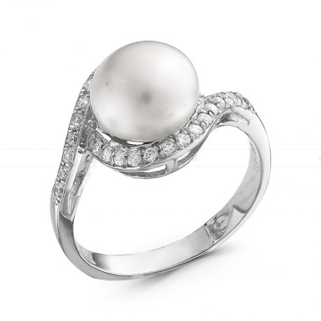 Кольцо из серебра с белой жемчужиной. Артикул 10370