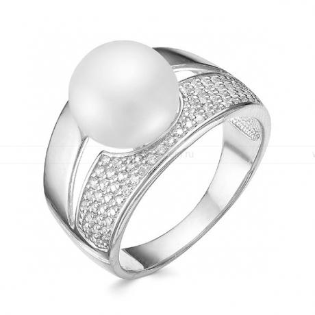 Кольцо из серебра с белой жемчужиной 10,5-11 мм. Артикул 10371