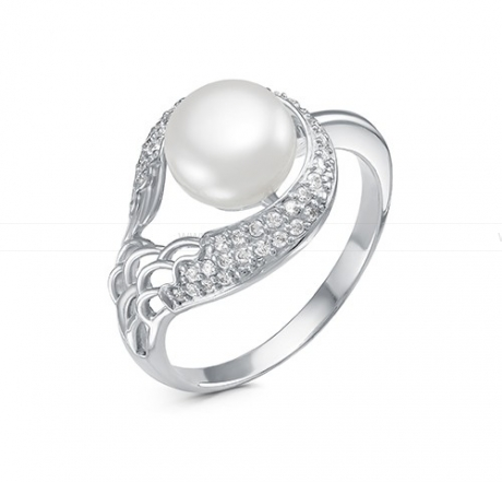 Кольцо из серебра с белой жемчужиной 8,5-9 мм. Артикул 10372