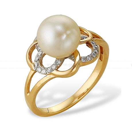 Кольцо из серебра с белой жемчужиной. Артикул 10373