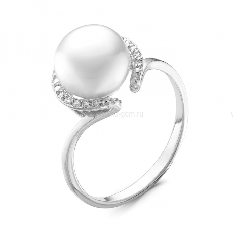Кольцо из серебра с белой жемчужиной 8,5-9 мм. Артикул 10374