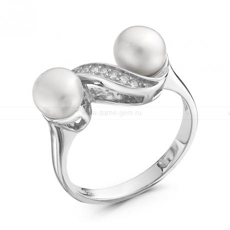 Кольцо из серебра с белыми жемчужинами 6,5-7 мм. Артикул 10376
