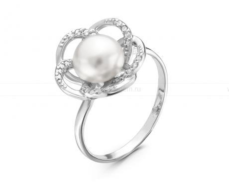 Кольцо из серебра с белой жемчужиной 7,5-8 мм. Артикул 10377