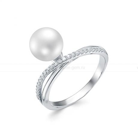 Кольцо из серебра с белой жемчужиной 8,5-9 мм. Артикул 10378