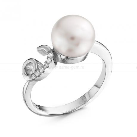 Кольцо из серебра с белой жемчужиной 9,5 мм. Артикул 10380