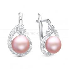 Серьги из серебра с розовыми жемчужинами 9,5-10 мм. Артикул 10388