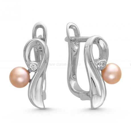 Серьги из серебра с розовыми жемчужинами 4-4,5 мм. Артикул 10401