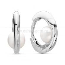 Серьги из серебра с белыми жемчужинами 6,5-7 мм. Артикул 10404