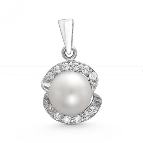 Подвеска из серебра с белой жемчужиной 8,5 мм. Артикул 10408