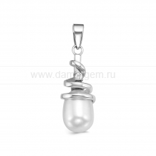 Подвеска из серебра с белой жемчужиной 8-9 мм. Артикул 10410