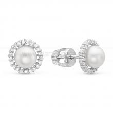 Серьги-пусеты из серебра с белыми жемчужинами 7-7,5 мм. Артикул 10416