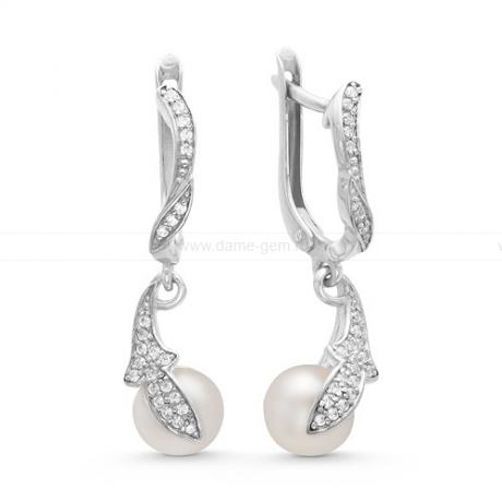 Серьги из серебра с белыми жемчужинами 8-8,5 мм. Артикул 10431
