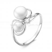 Кольцо из серебра с белыми жемчужинами 5-7 мм. Артикул 10438